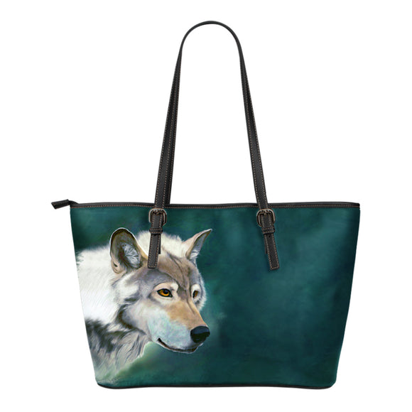 Wolf Face Small Leather Tote Bag