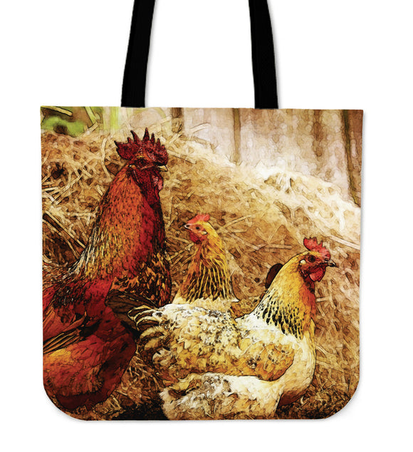 Cock and Hens Cloth Tote Bag