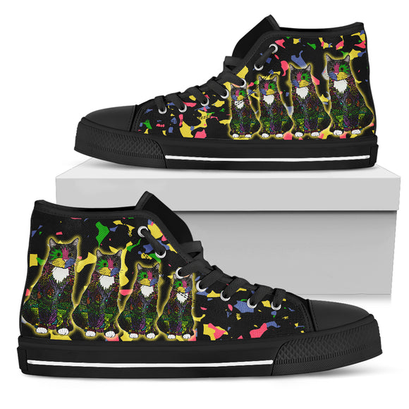 Colorful Tuxedo Cat - Women's Hightop Shoes