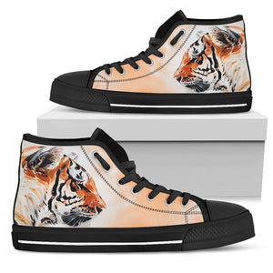 Watercolor Tiger Face High Top Shoes