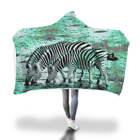 Teal Zebra Hooded Blanket