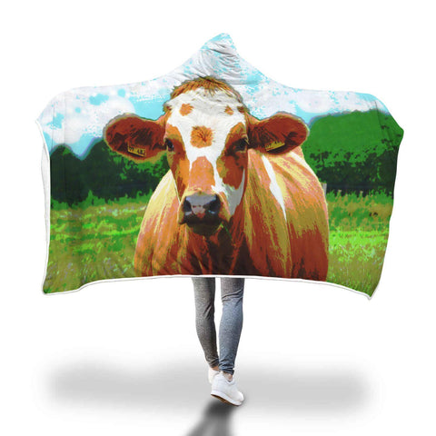 Cow in Field - Hooded Blanket