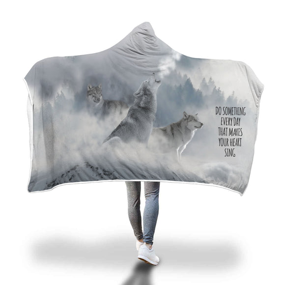 Wolves - Do Something Every Day - Hooded Blanket