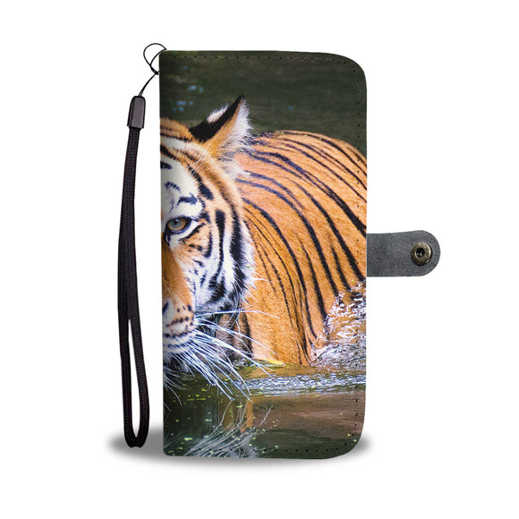 Tiger in Water Wallet Phone Case