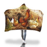 Cock and Hens - Hooded Blanket