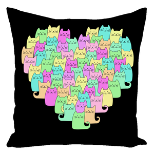Heartful of Cats Throw Pillows