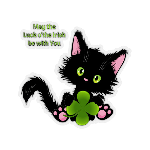 Lucky the Black Cat with Shamrock - Kiss-Cut Stickers