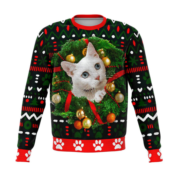 White Kitty in Wreath - Christmas Sweater