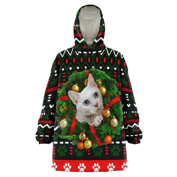White Kitty in Wreath - Christmas Snug Hoodie