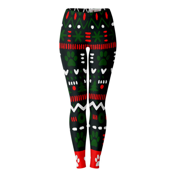 Christmas Paw Print Leggings (black background)