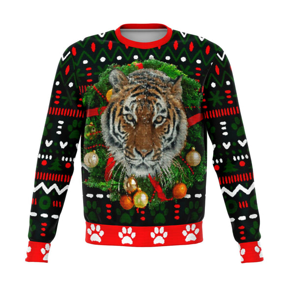 Tiger Wreath - Christmas Sweater/Sweatshirt