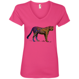 Colorful Cheetah Ladies V-Neck T-Shirt