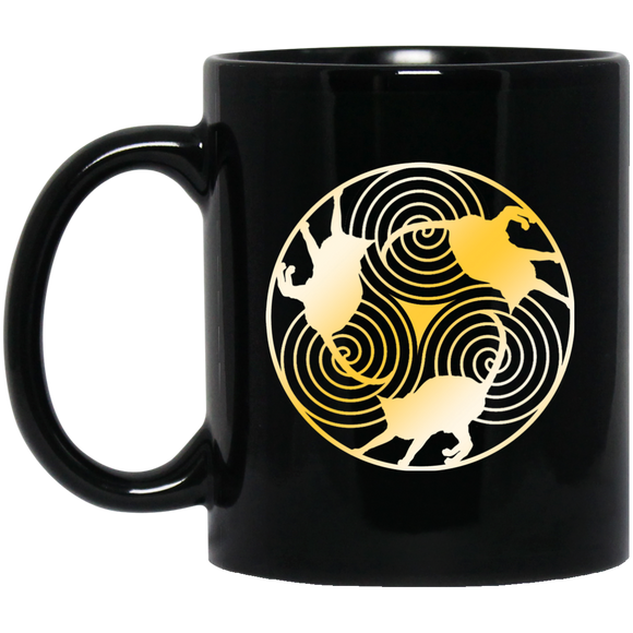 Cat Triskelion 11 and 15 oz Black Mugs