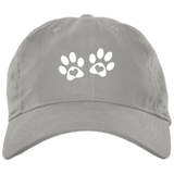 Heart Paw Print Brushed Twill Unstructured Dad Cap