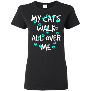 My Cats Walk All Over Me - Turquoise Pawprints Ladies Cotton T-Shirt