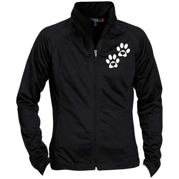 Heart Paw Print Ladies' Raglan Sleeve Warmup Jacket