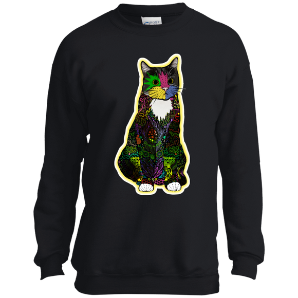 Colorful Tuxedo Cat Youth Crewneck Sweatshirt