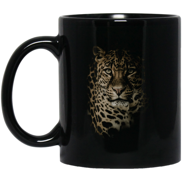 Leopard Portrait 11 and 15 oz Black Mugs