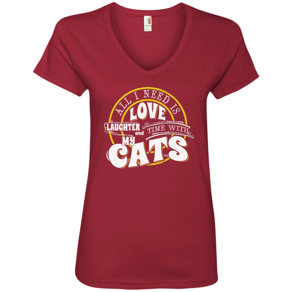 TIME with My Cats Ladies V-Neck T-Shirt