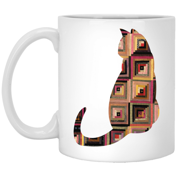 Log Cabin Cat 11 oz. White Mug