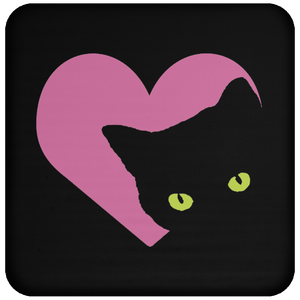 Black Cat Heart Coaster