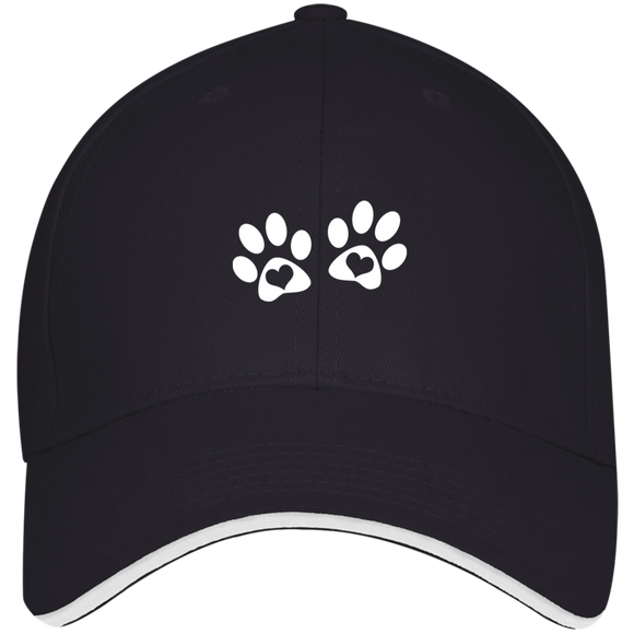 Heart Paw Print Structured Twill Cap With Sandwich Visor