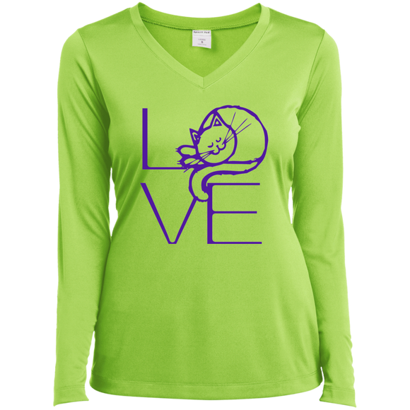 LOVE Cat Ladies LS Performance V-Neck T-Shirt