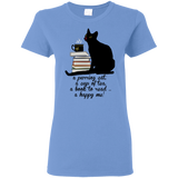Cat-Tea-Book-Happy Ladies Cotton T-Shirt