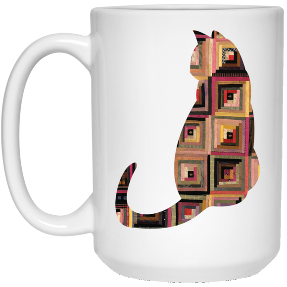 Log Cabin Cat 15 oz. White Mug