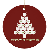 Meowy White Christmas Ceramic Ornaments in 4 Shapes