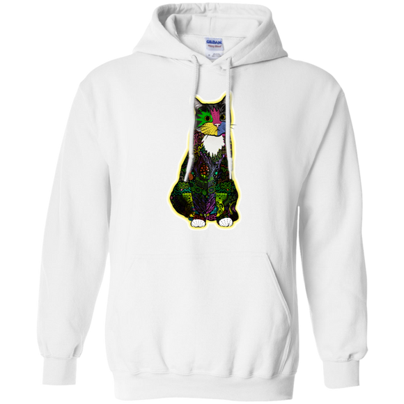 Colorful Tuxedo Cat Pullover Hoodie