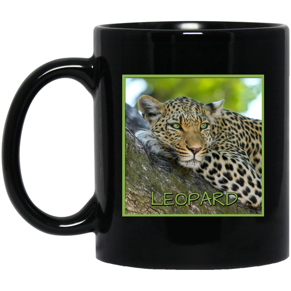 Leopard Square 11 and 15 oz Black Mugs
