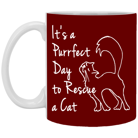 Purrfect Day 11 and 15 oz White Mugs