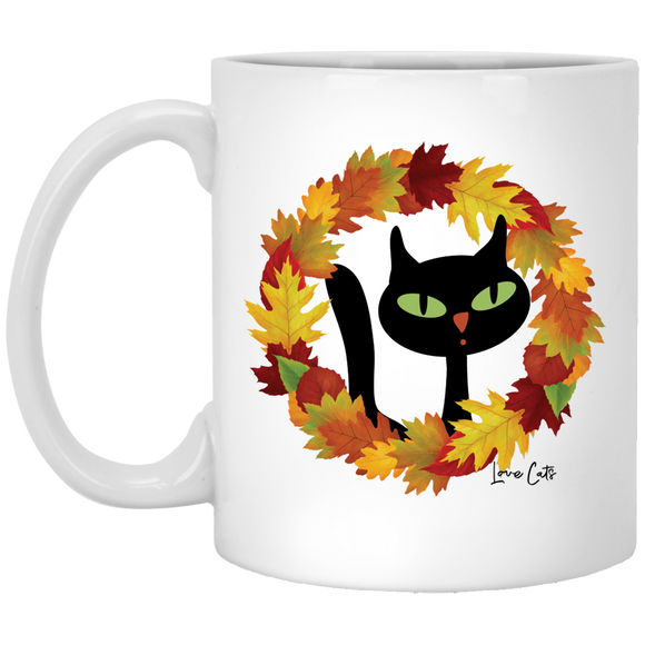 Victor in Fall Wreath 11 oz. White Mug