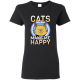 Cats Make Me Happy Ladies Cotton T-Shirt