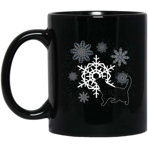 Cat and Snowflakes 11 and 15 oz Black Mugs