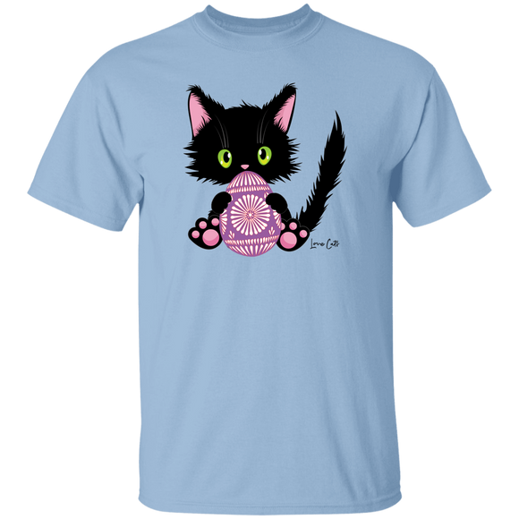 Lucky the Black Cat with Easter Egg T-Shirt