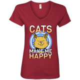 Cats Make Me Happy Ladies V-Neck T-Shirt