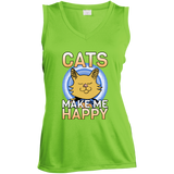 Cats Make Me Happy Ladies Sleeveless Moisture Absorbing V-Neck