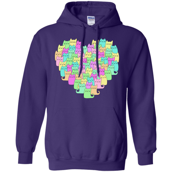 Heartful of Cats Pullover Hoodie