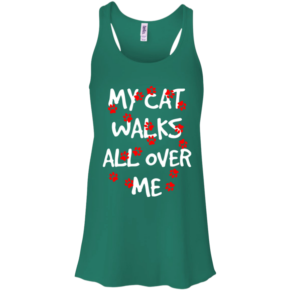 My Cat Walks All Over Me Flowy Racerback Tank
