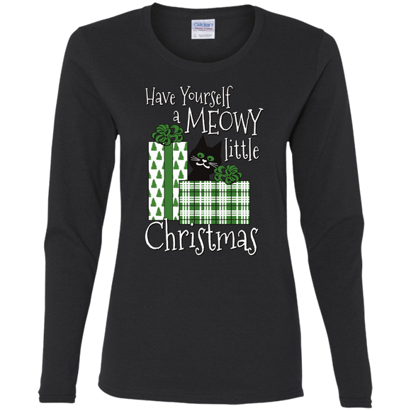 Meowy Little Christmas Ladies Long Sleeve T-shirts