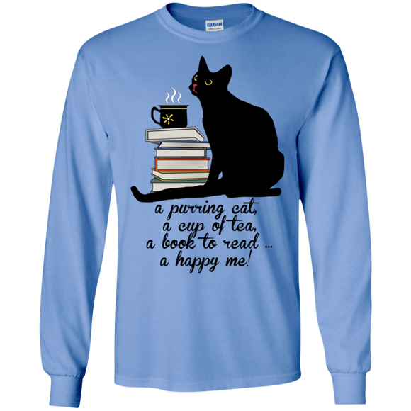 Cat-Tea-Book-Happy LS Ultra Cotton T-Shirt