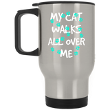 My Cat Walks All Over Me - Turquoise Pawprints Stainless Steel Travel Mug