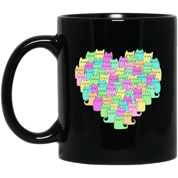 Heartful of Cats 11 and 15 oz Black Mugs