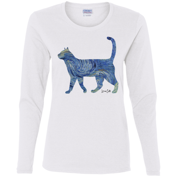 Starry Night Tabby Ladies Long Sleeve T-Shirts
