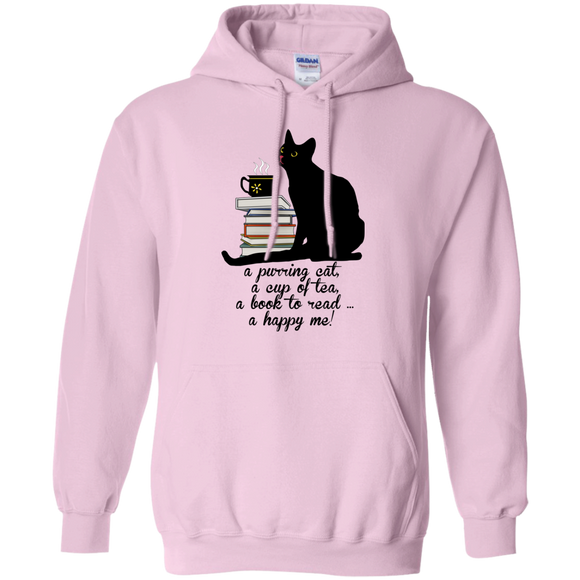 Cat-Tea-Book-Happy Pullover Hoodie