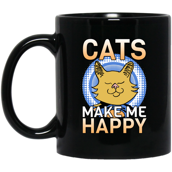 Cats Make Me Happy 11 and 15 oz Black Mugs