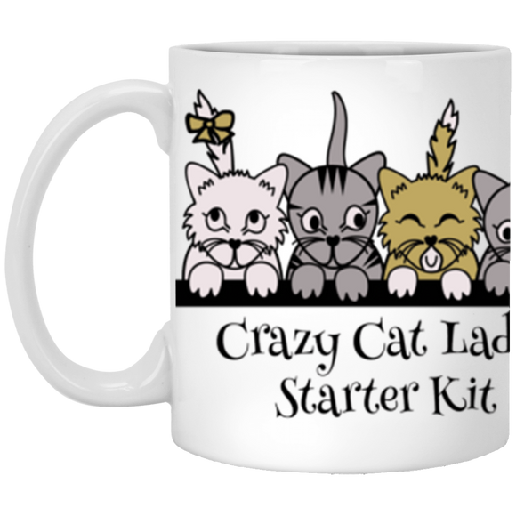 Crazy Cat Lady Starter Kit White Mugs