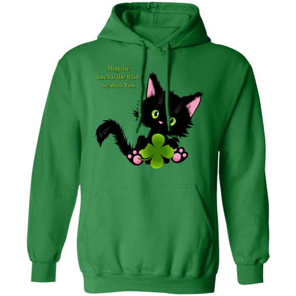 Lucky the Black Cat with Shamrock Pullover Hoodie